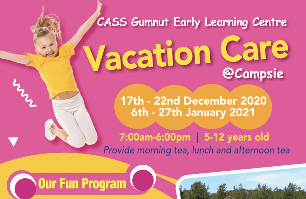 CASS Gumnut早教中心-Campsie夏季假期托兒服務開始報名啦